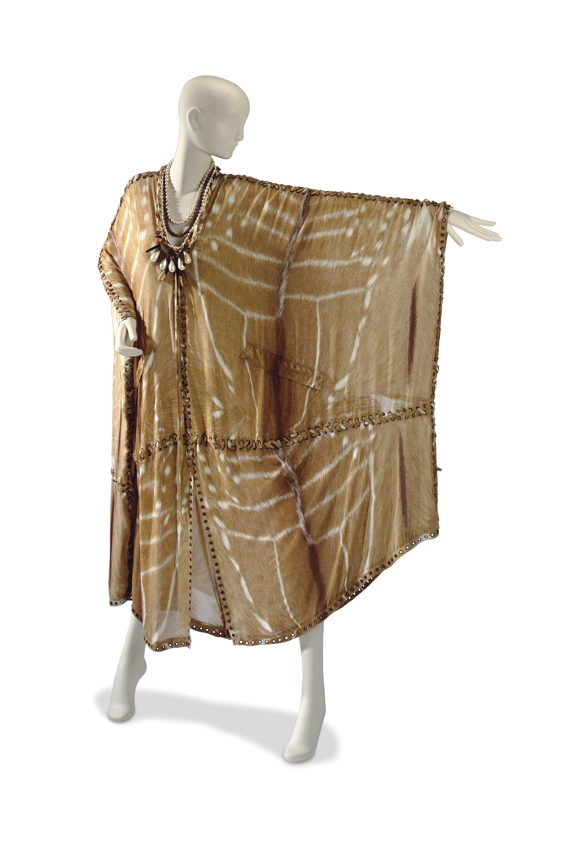 AN YVES SAINT LAURENT TAN SAFARI PRINT SILK CAFTAN WITH ASSOCIATED MULTI-STRAND SIMULATED PEARL AND BEAD NECKLACE