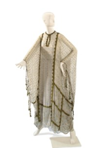 A THEA PORTER GREY CHIFFON SILVER AND GOLD BEADED CAFTAN AND SKIRT ENSEMBLE