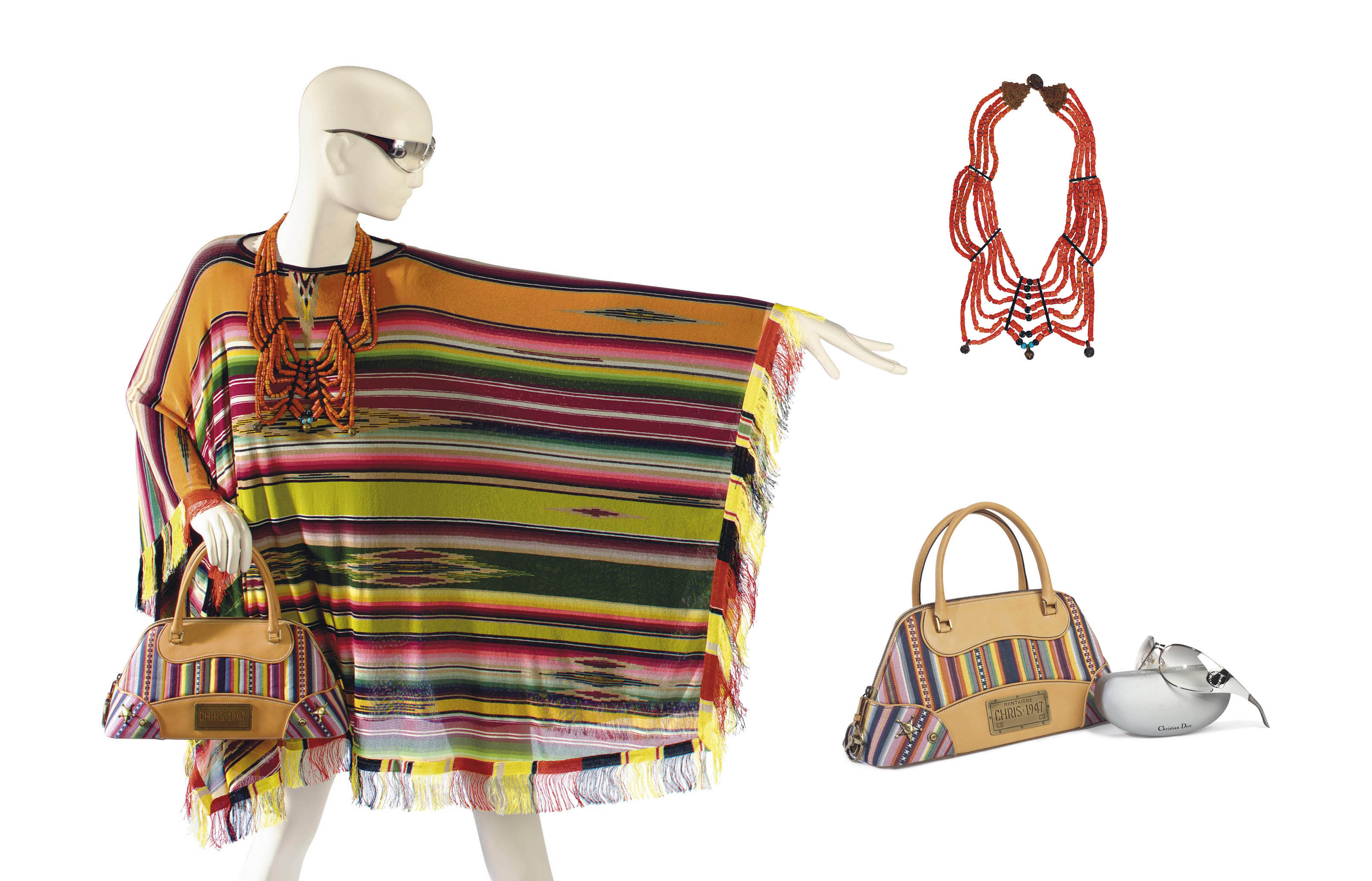 A GAULTIER PONCHO, A DIOR HANDBAG, SUNGLASSES AND AN ASSOCIATED TRADITIONAL FESTOON BIB NECKLACE