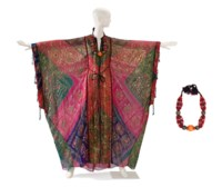 A TIE-DYE GROUND AND GILT THREAD EMBELLISHED CAFTAN WITH ASSOCIATED TURKOMAN STYLE NECKLACE