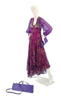 A THEA PORTER PURPLE SILK MAXI DRESS AND A PHILIP TREACY BAGUETTE BAG