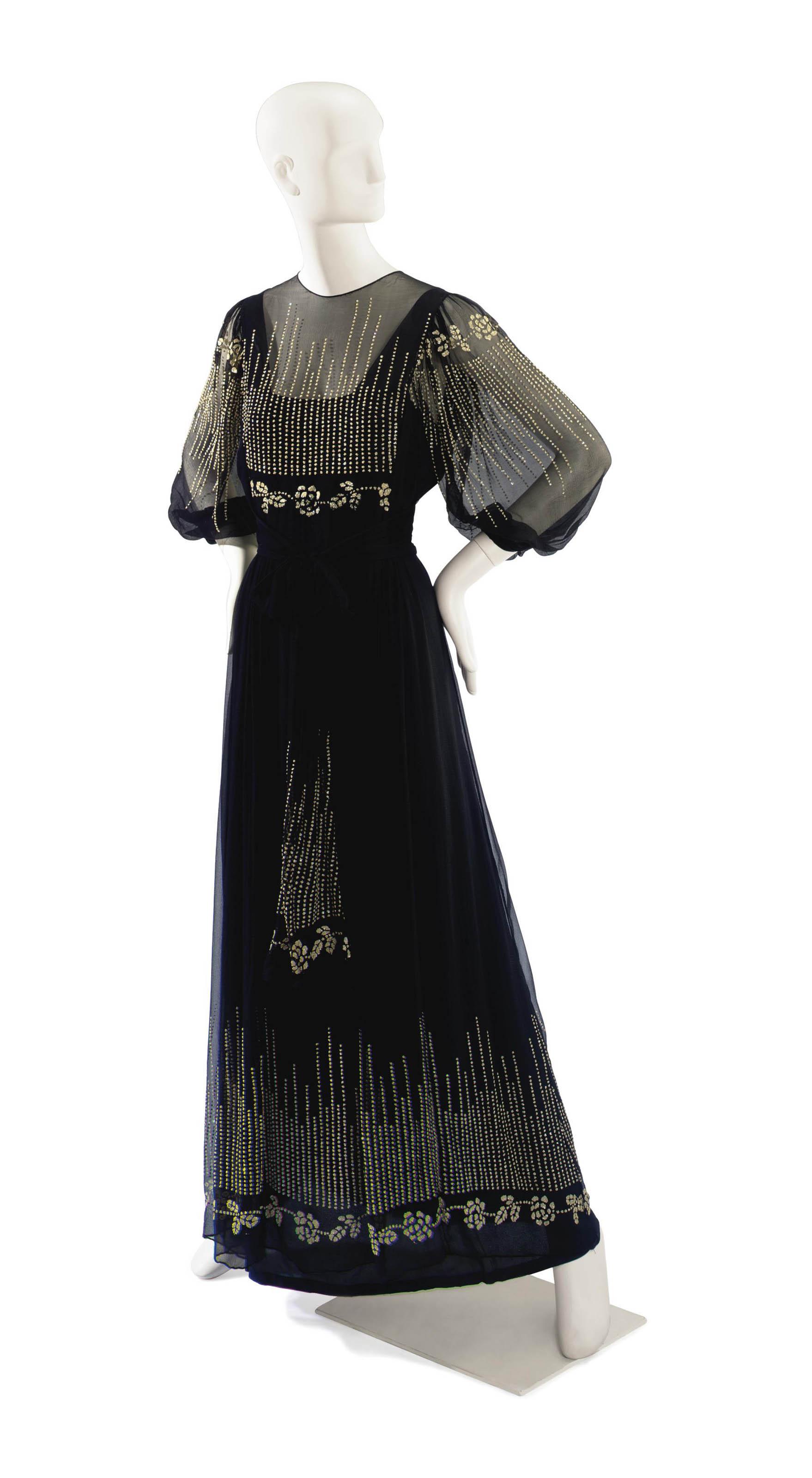 A THEA PORTER BLACK CHIFFON EVENING DRESS