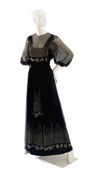 A THEA PORTER BLACK CHIFFON EVENING DRESS