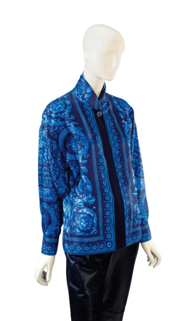 A VERSACE BLUE AND BLACK 'BARO
