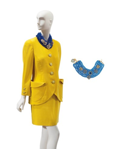 A VERSACE YELLOW WOOL SUIT AND
