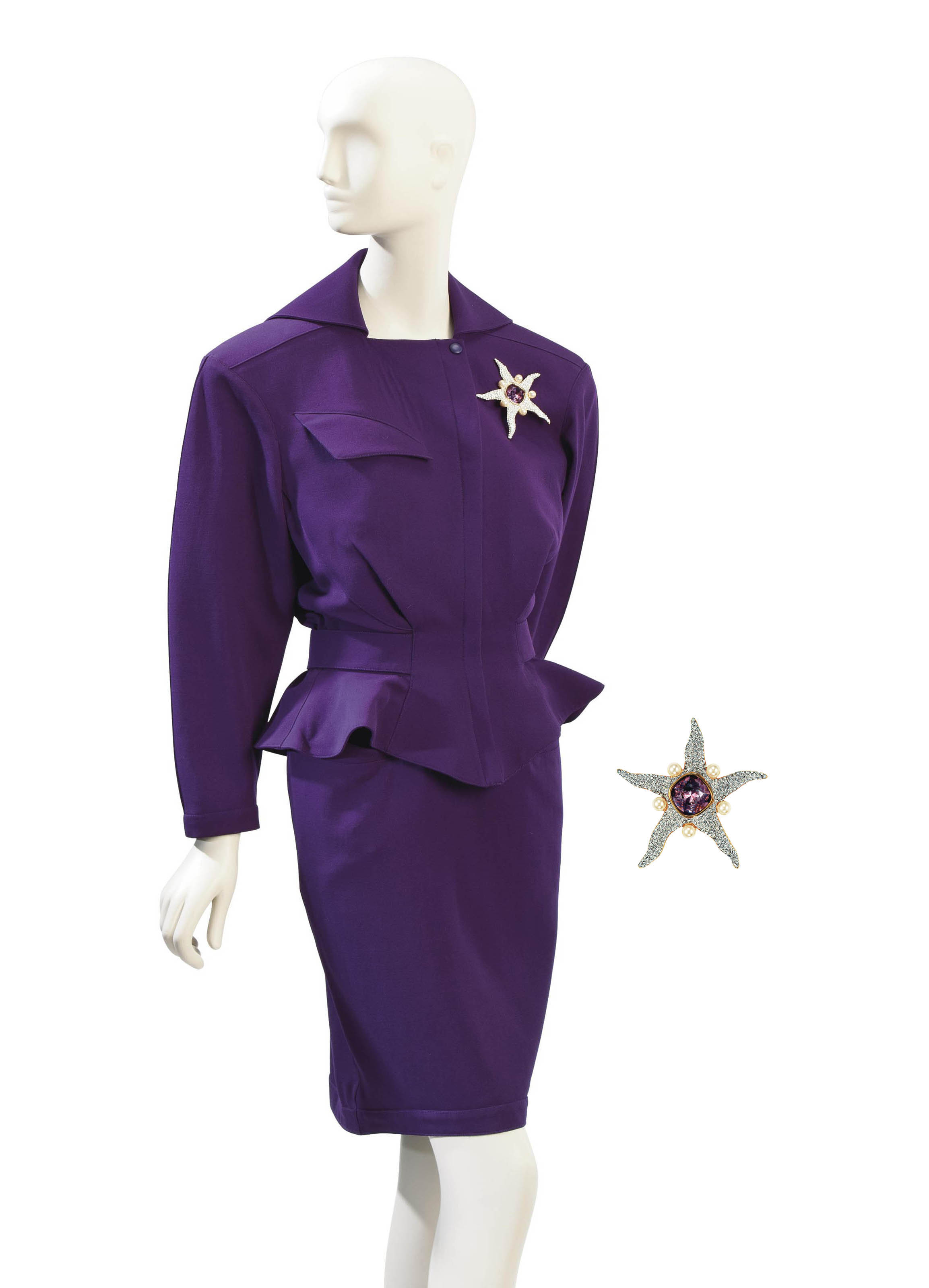 A THIERRY MUGLER PURPLE WOOL SUIT AND VALENTINO STARFISH-SHAPED BROOCH