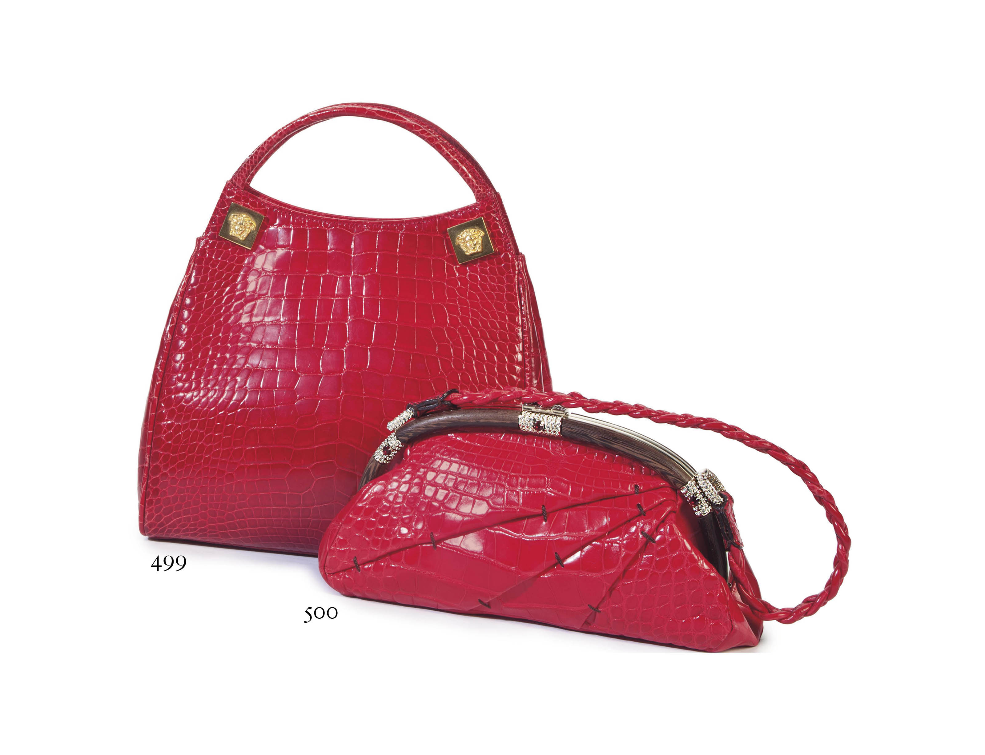 A CHERRY RED CROCODILE HANDBAG