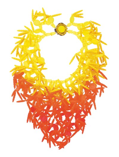 A NEON PLASTIC BIB NECKLACE