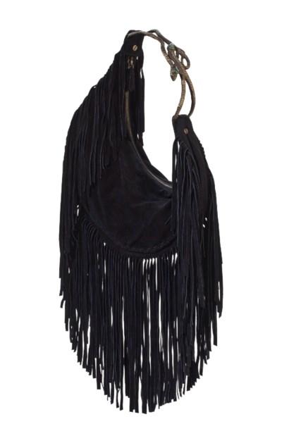 A BLACK SUEDE CRESCENT BAG