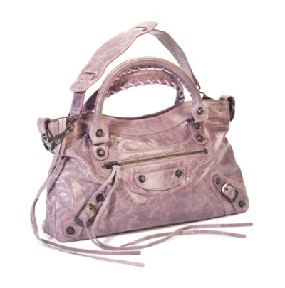 A LAVENDER DISTRESSED LEATHER