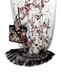 A BLACK SATIN EVENING TOTE BAG, A BLACK TULLE AND MULTI-COLORED SILK STOLE AND A PAIR OF SUNGLASSES