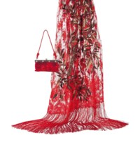 A SCARLET LACE STOLE AND SCARLET SATIN CLUTCH BAG