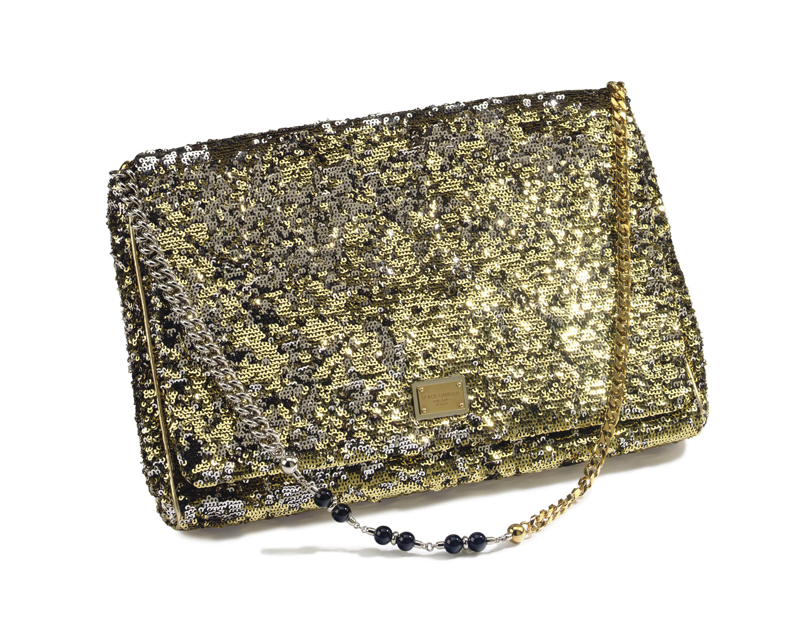 A SILVER AND GOLD SEQUINNED MISS CHARLES BAG