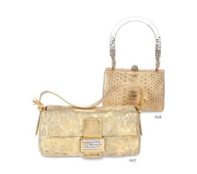 A GOLD PYTHON SKIN EVENING BAG