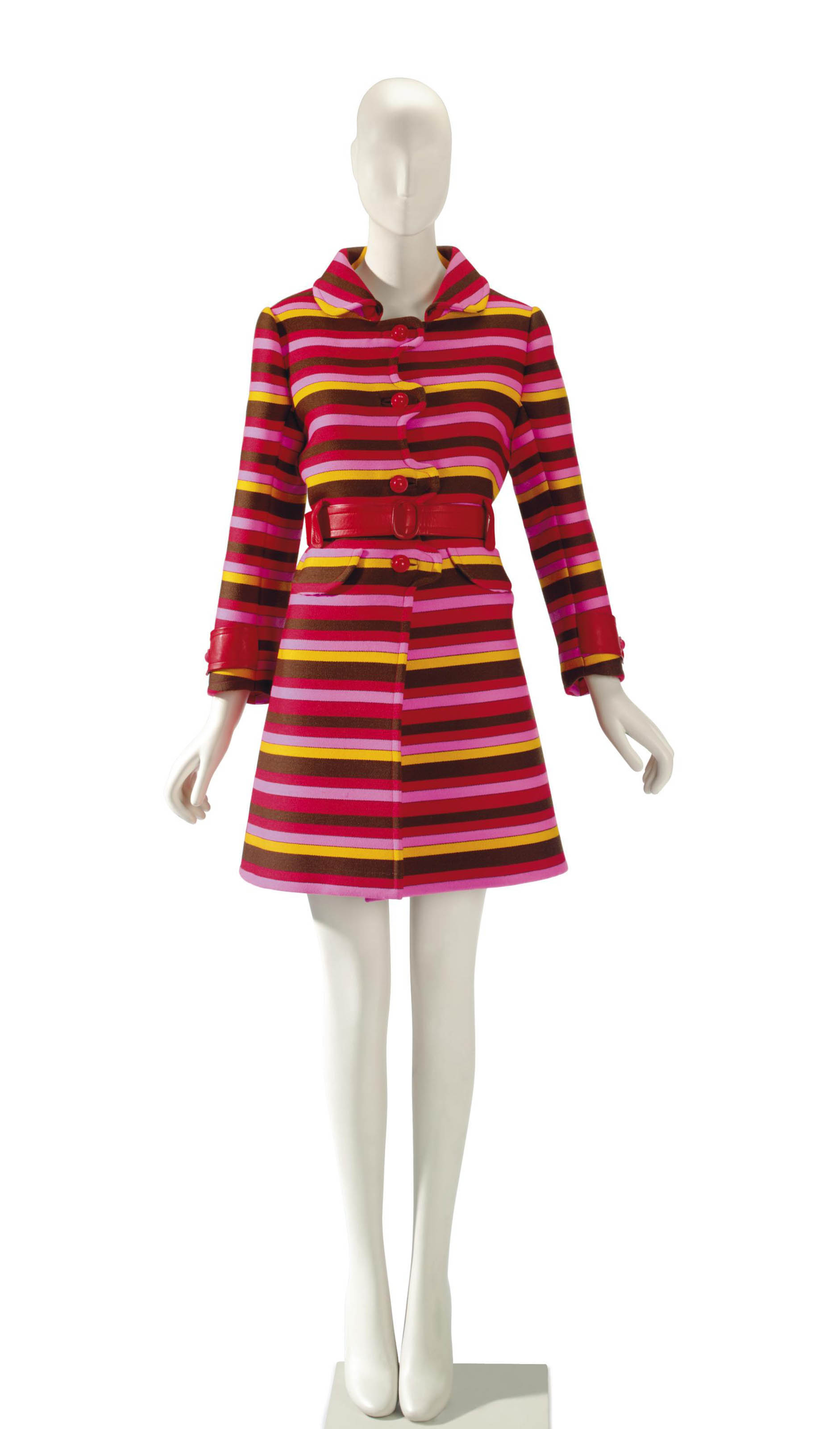 AN EMANUEL UNGARO RED, PINK, BROWN AND YELLOW STRIPED WOOL COAT