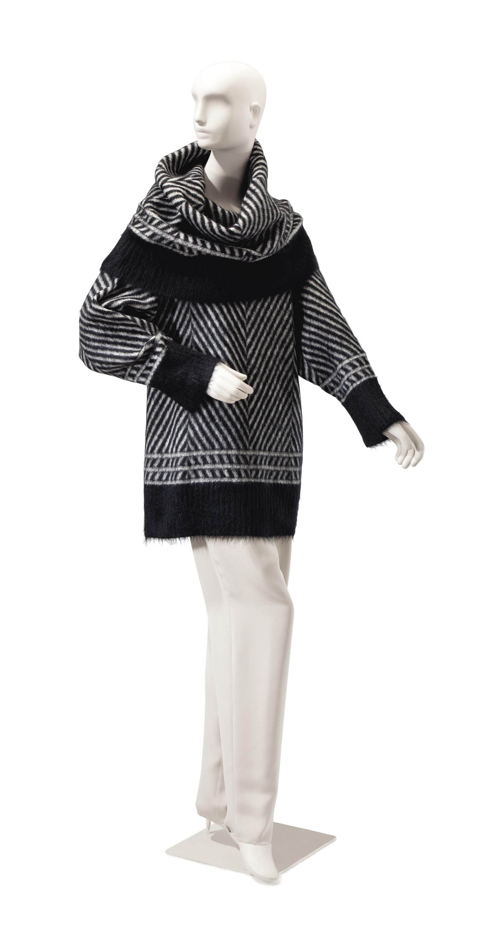 A GALLIANO BLACK AND WHITE MOHAIR SWEATER