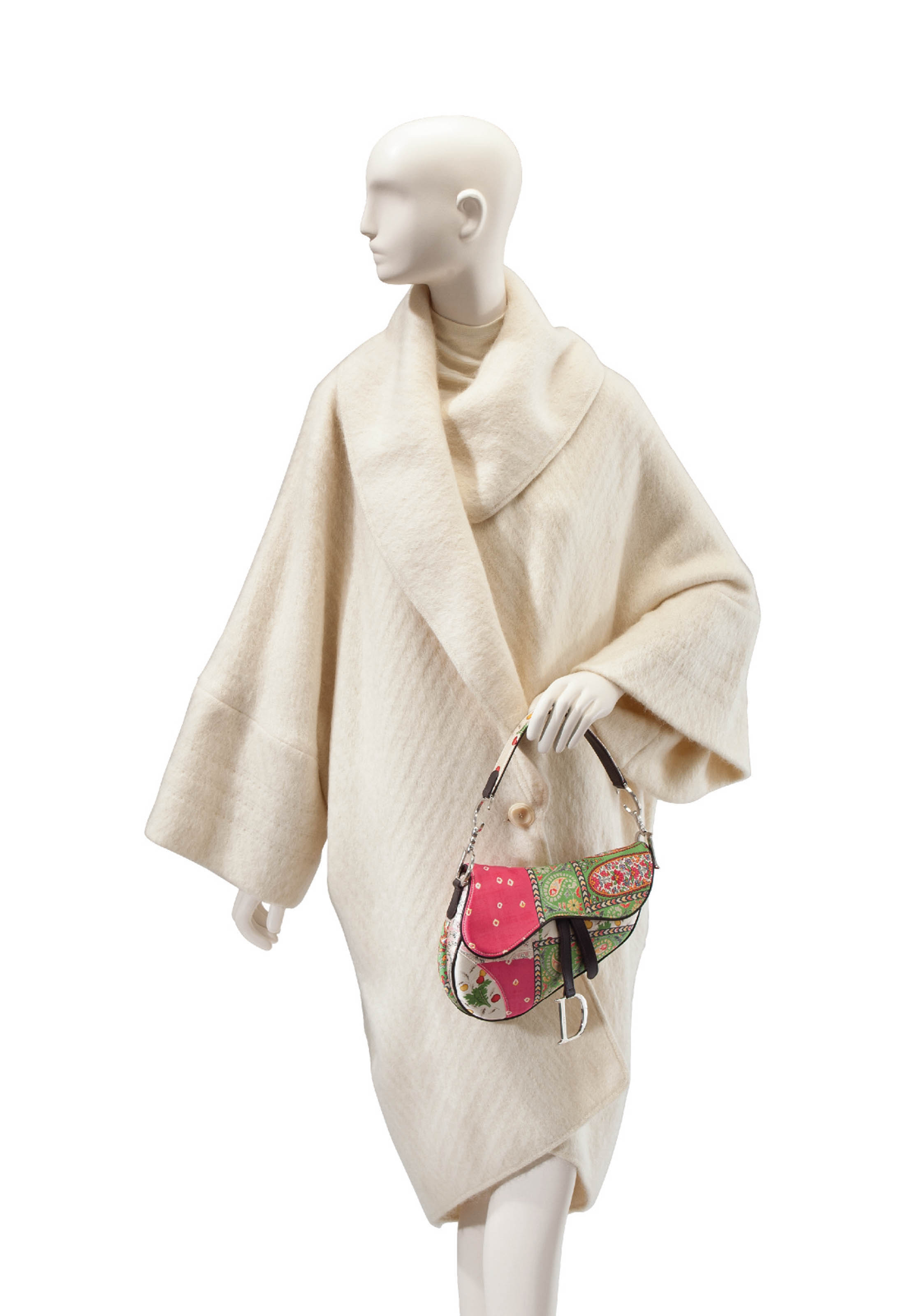 A GALLIANO WHITE MOHAIR SWEATER COAT AND A CHRISTIAN DIOR SADDLE BAG