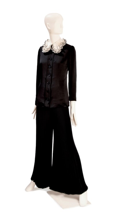 A VALENTINO BLACK SATIN AND OR