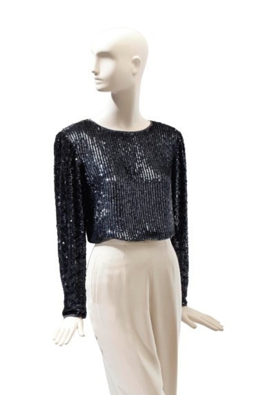 A VALENTINO GREY SEQUINNED SIL