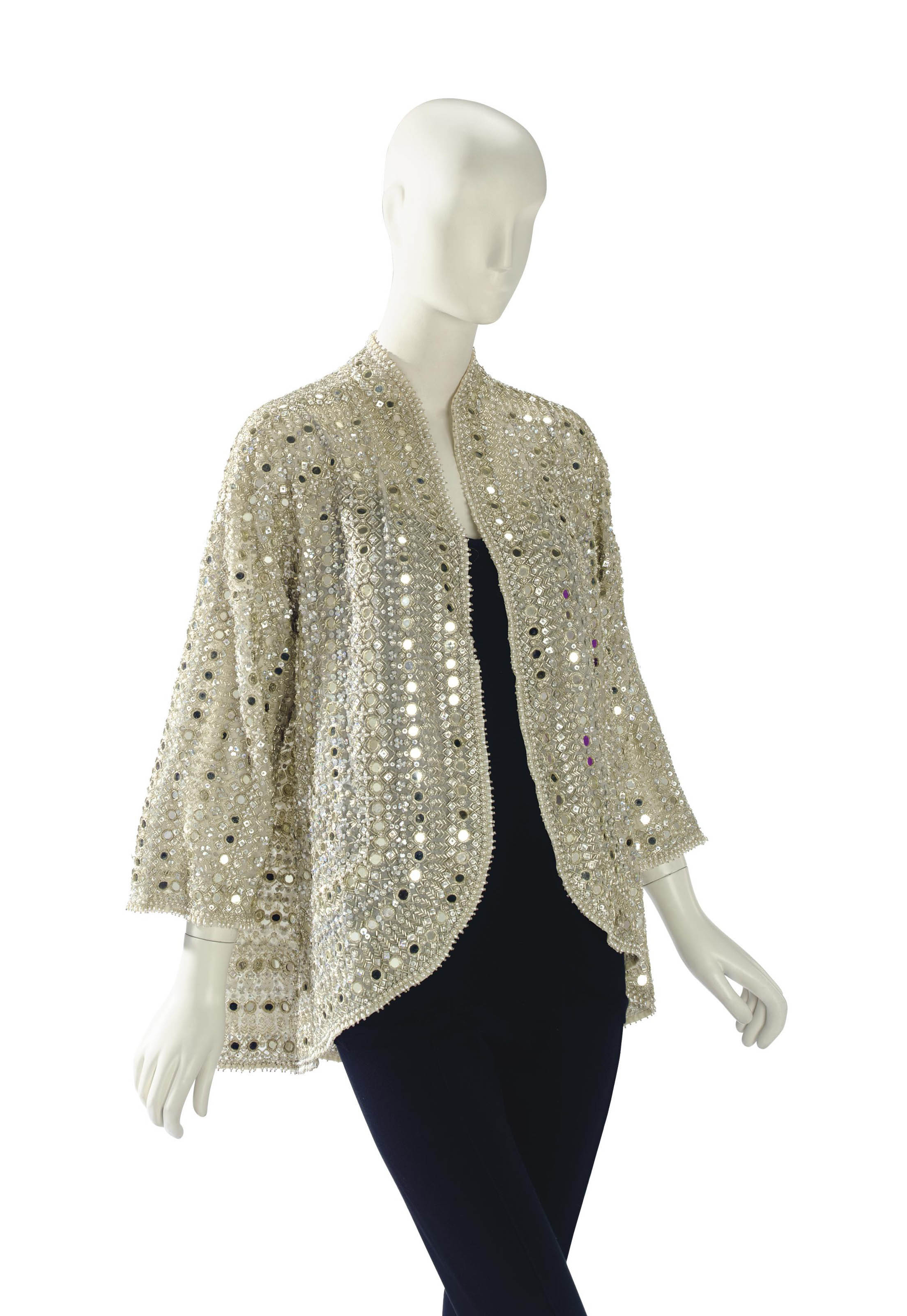 A HALSTON BEADED EVENING JACKET