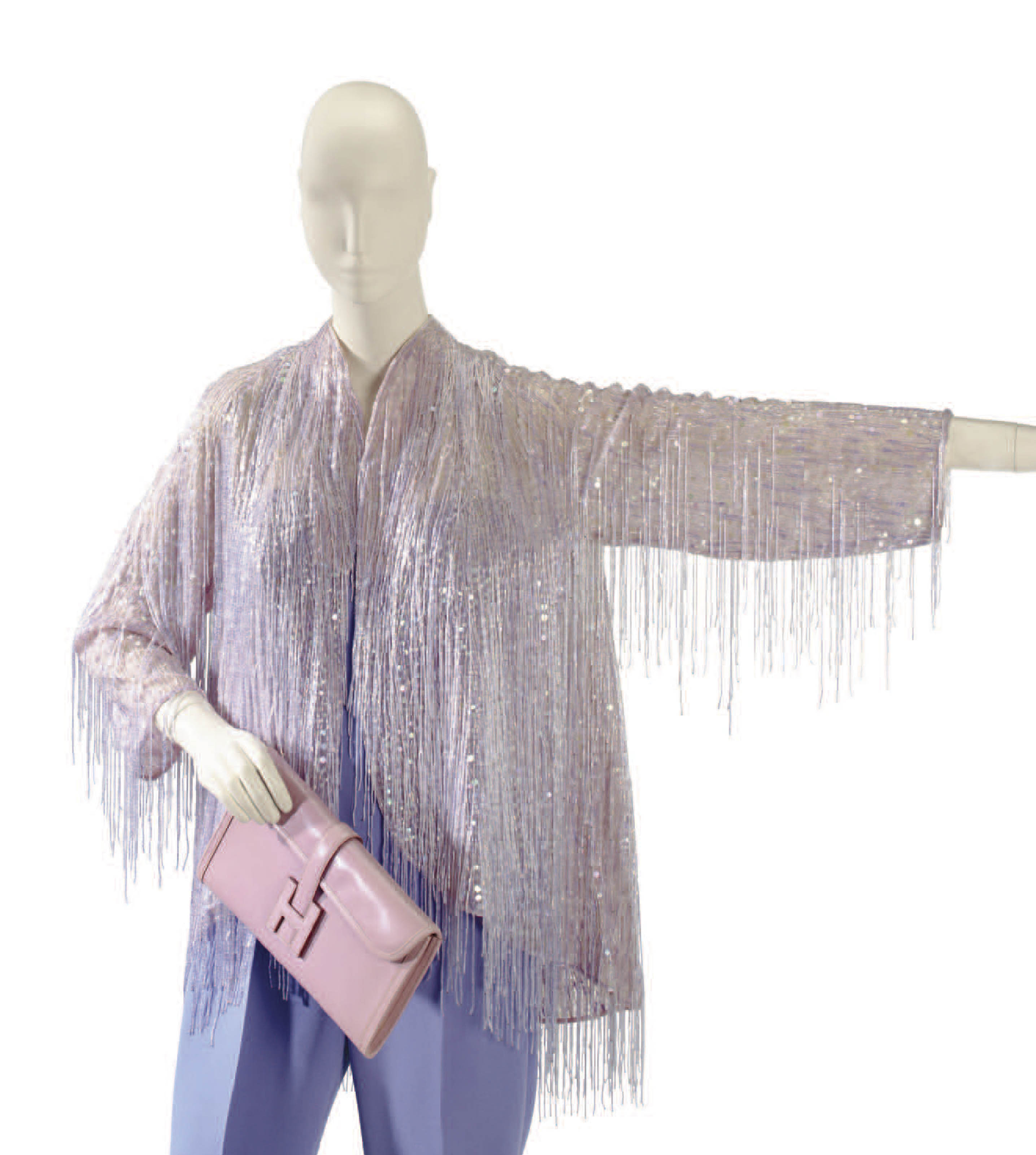 A HALSTON LAVENDER BUGLE BEAD FRINGED EVENING JACKET AND HERMÈS JIGE POCHETTE