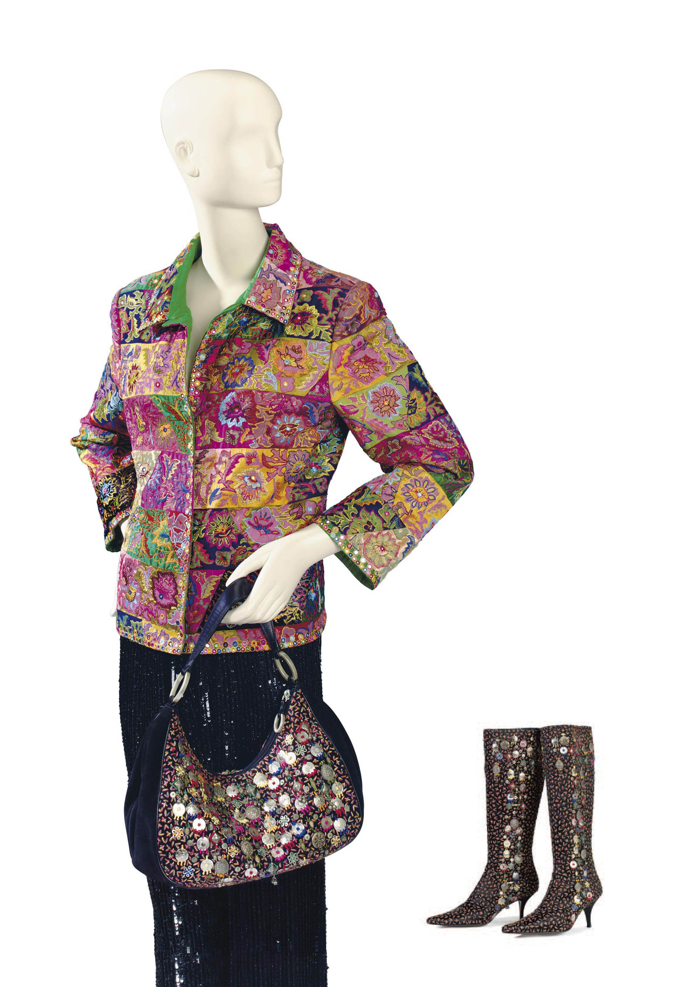 AN OSCAR DE LA RENTA MULTI-COLORED VELVET AND SILK EMBROIDERED JACKET WITH EMBROIDERED BOOTS AND SUEDE HANDBAG