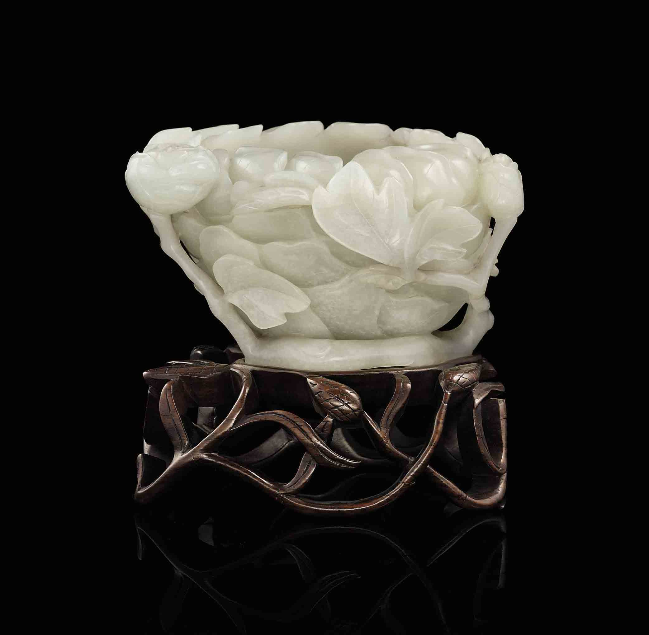 A Pale Greenish White Jade Flower Form Brushwasher 18th Century