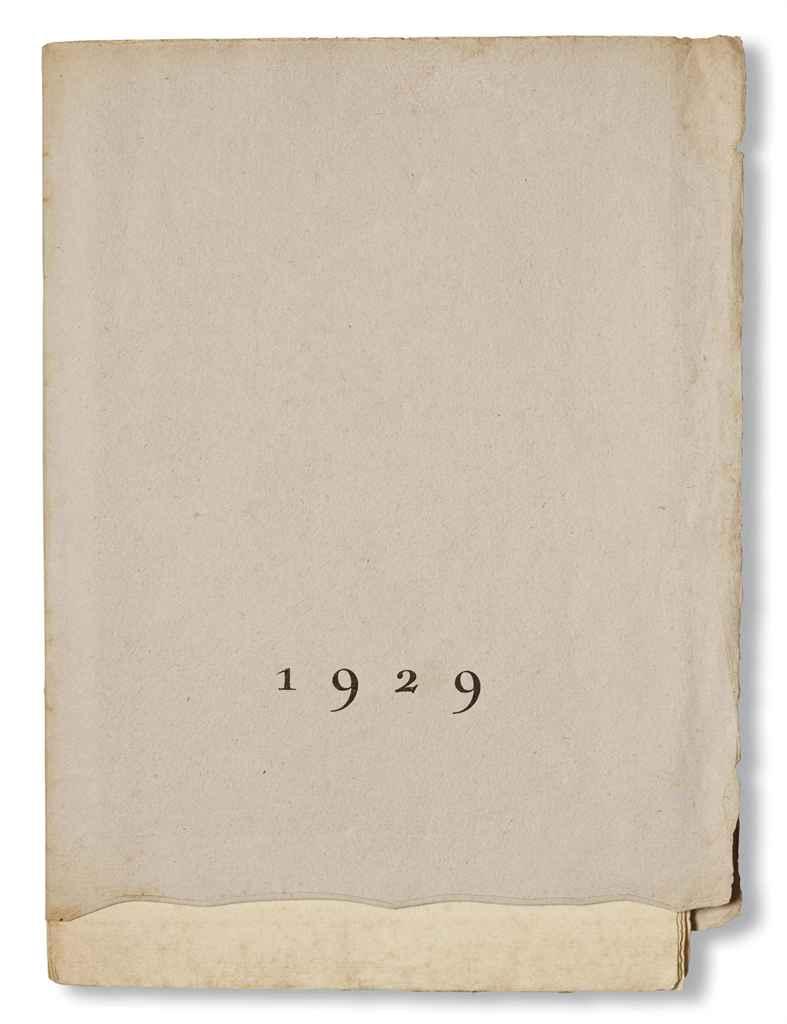 MAAN RAY]. 1929. Poésies de Benjamin Péret et Louis Aragon. [Bruxelles: Éditions de la revue Variétés] 1929. In-4 (300 x 200 mm). 4 photolithographies reproduisant des images pornographiques de Man Ray. (Rares rousseurs en marge.) Couverture originale imprimée, étui moderne en soie.