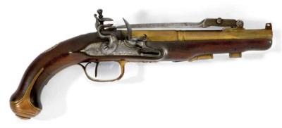 Pistolet à silex à canon en la