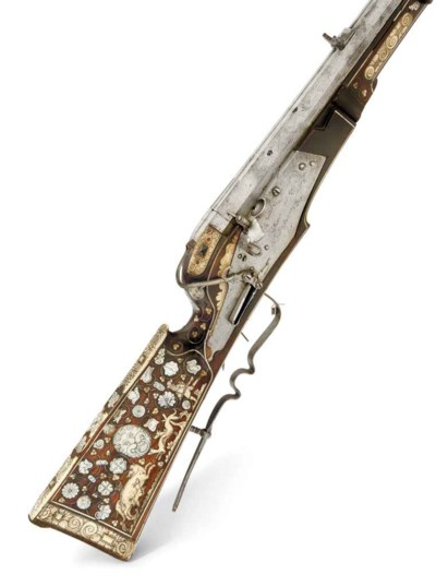 Rare fusil de tir à mèche de S