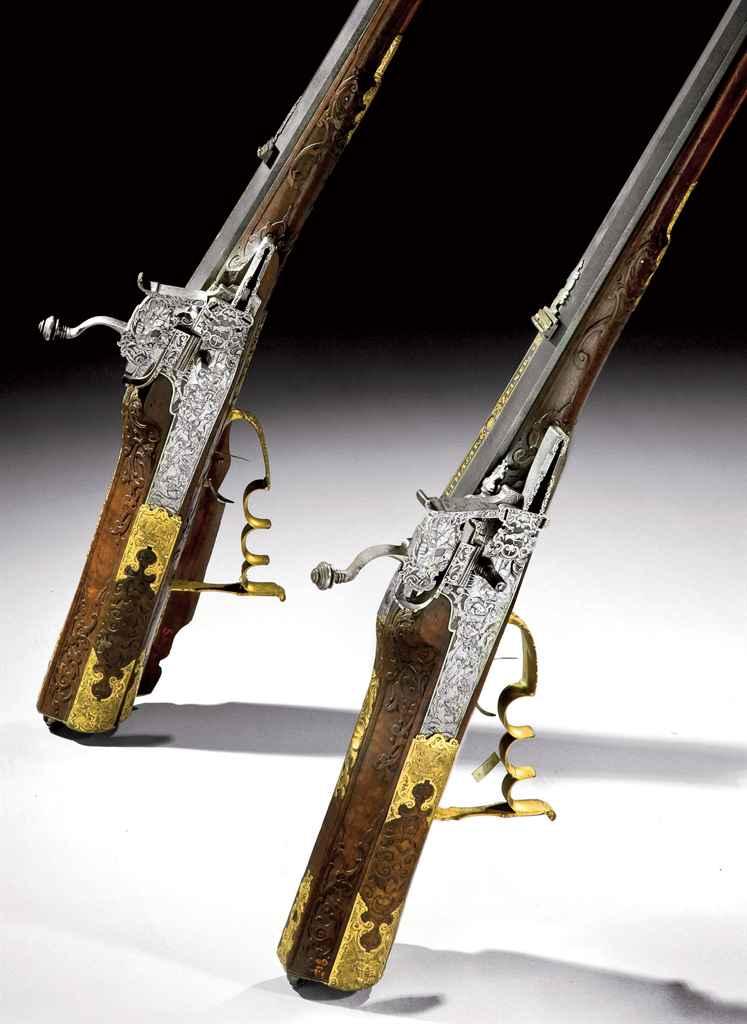Belle paire de fusils à rouet