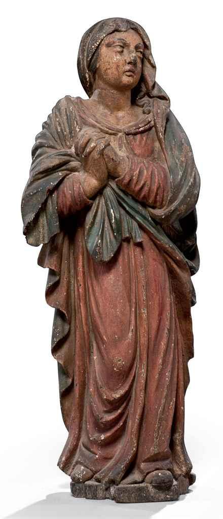 Figure en bois fruitier sculpt