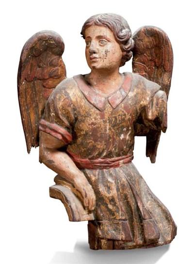 Fragment en bois sculpté, pein