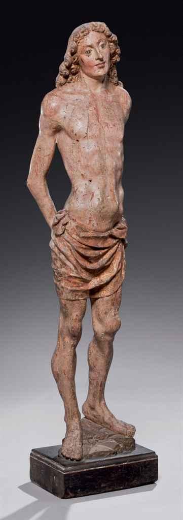 Figure en bois sculpté, peint