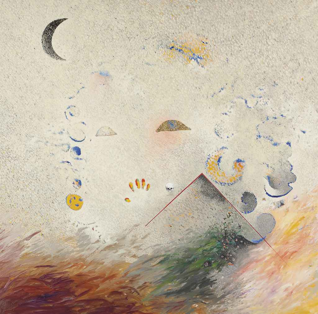 Ange, lune, crâne, sable