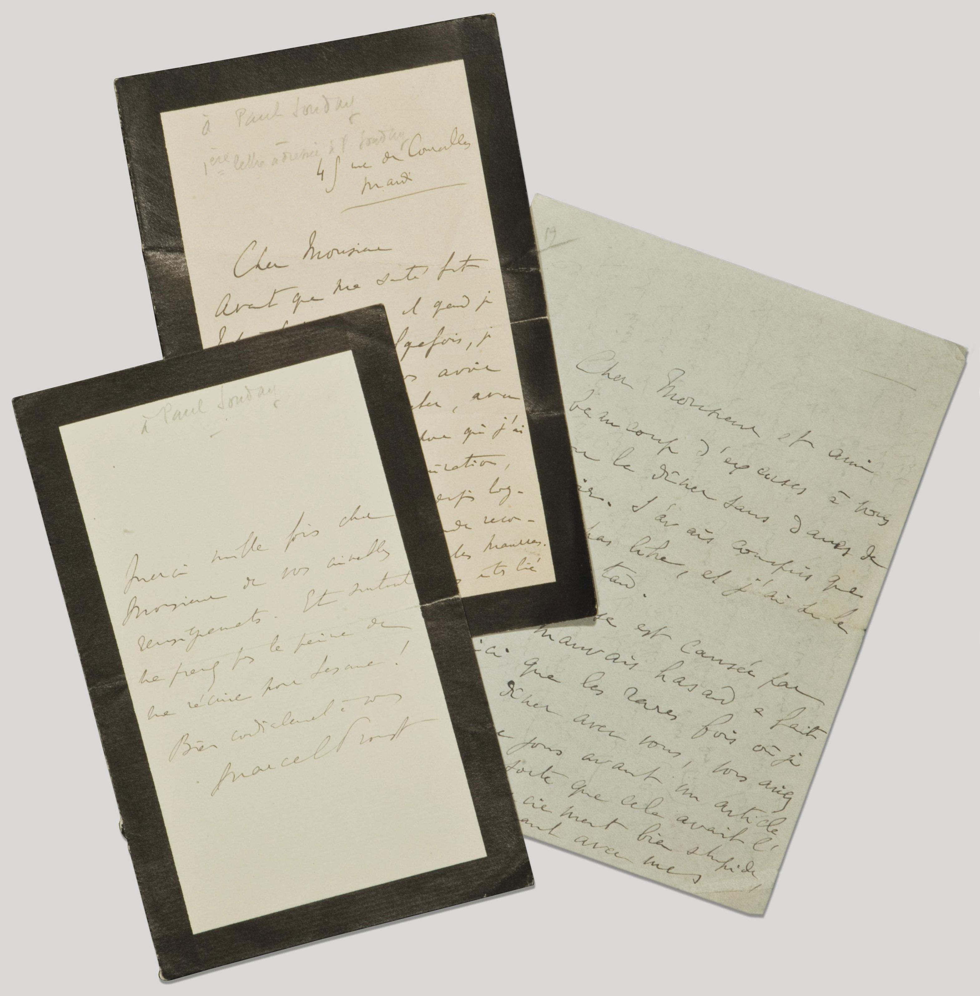 """PROUST, Marcel (1871-1922). Lettre autographe signée """"Marcel Proust"""" au critique littéraire Paul Souday (1869-1929), auteur d'une biographie de Proust."""