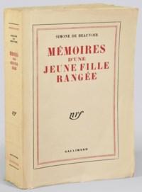 BEAUVOIR, Simone de (1908-1986). Mémoires d'une jeune fille rangée. Paris: NRF, 1958.