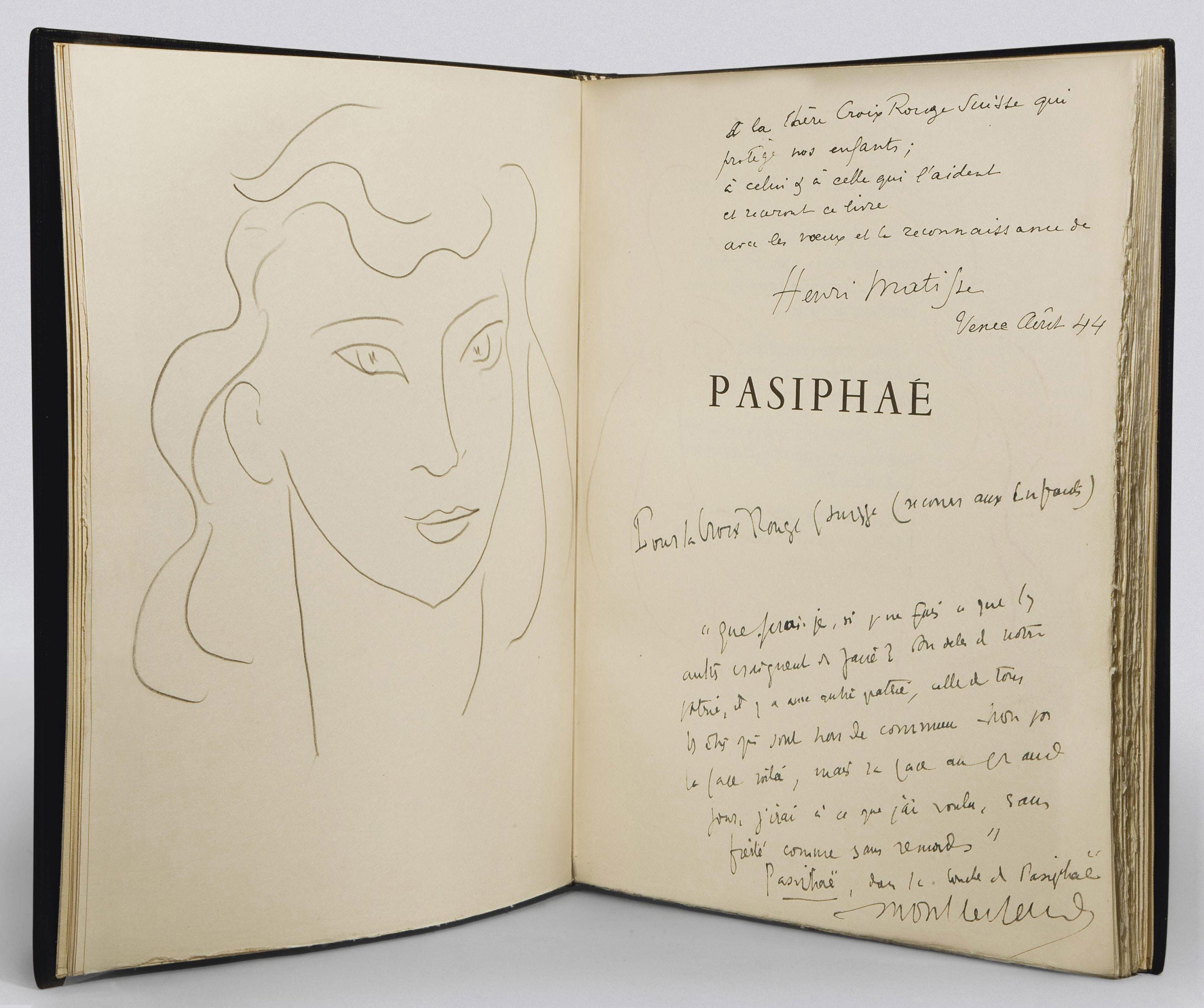 [MATISSE] -- MONTHERLANT, Henry Millon (1895-1972). Pasiphaé. Chant de Minos (les Crétois). Gravures originales par Henri Matisse. Paris: Martin Fabiani, 1944.