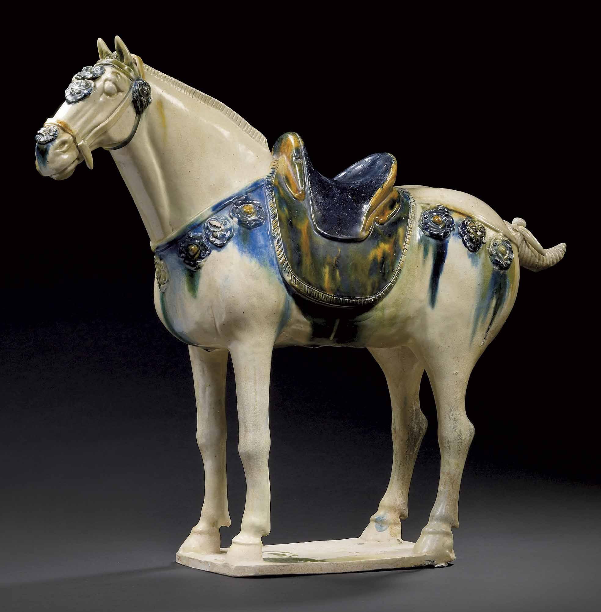 cheval en terre cuite emaillee bleue et sancai chine dynastie tang 618 907 christie 39 s. Black Bedroom Furniture Sets. Home Design Ideas