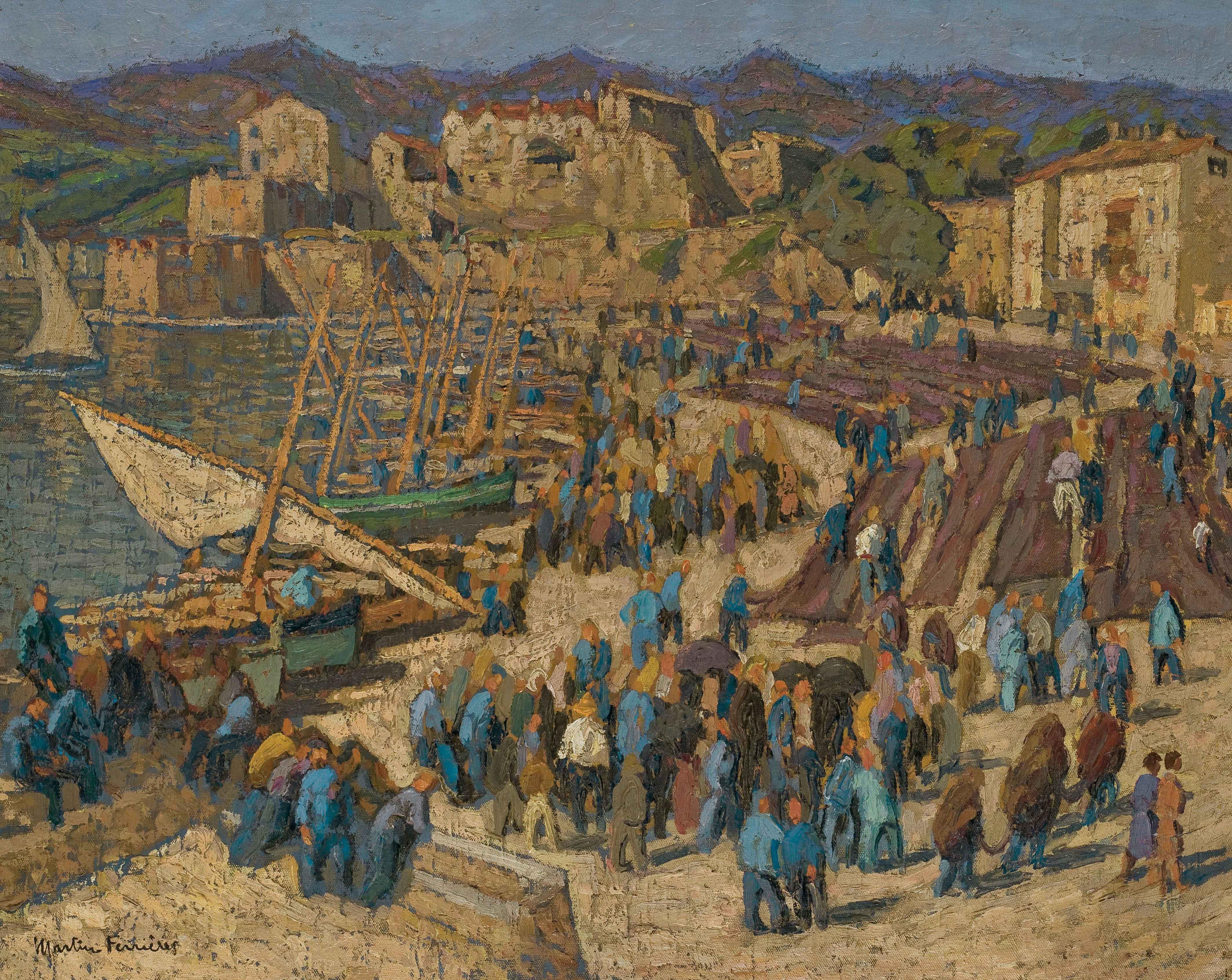Foule de pêcheurs et ravaudage des filets sur la grève du port de Collioure (Catalogne)