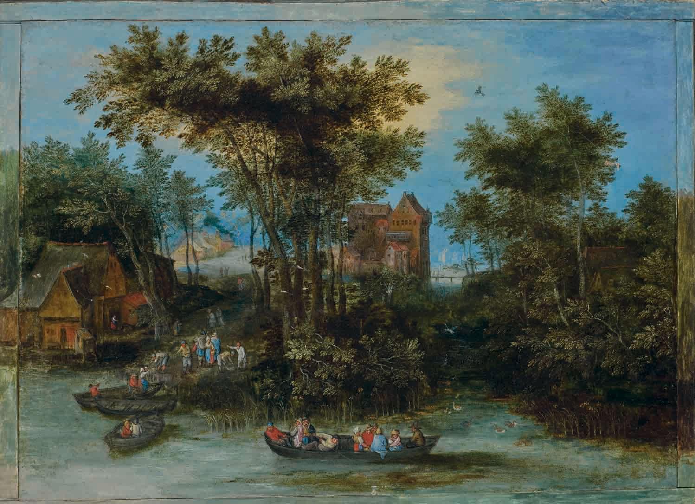 Personnages embarquant sur une rivière, des habitations à l'arrière-plan