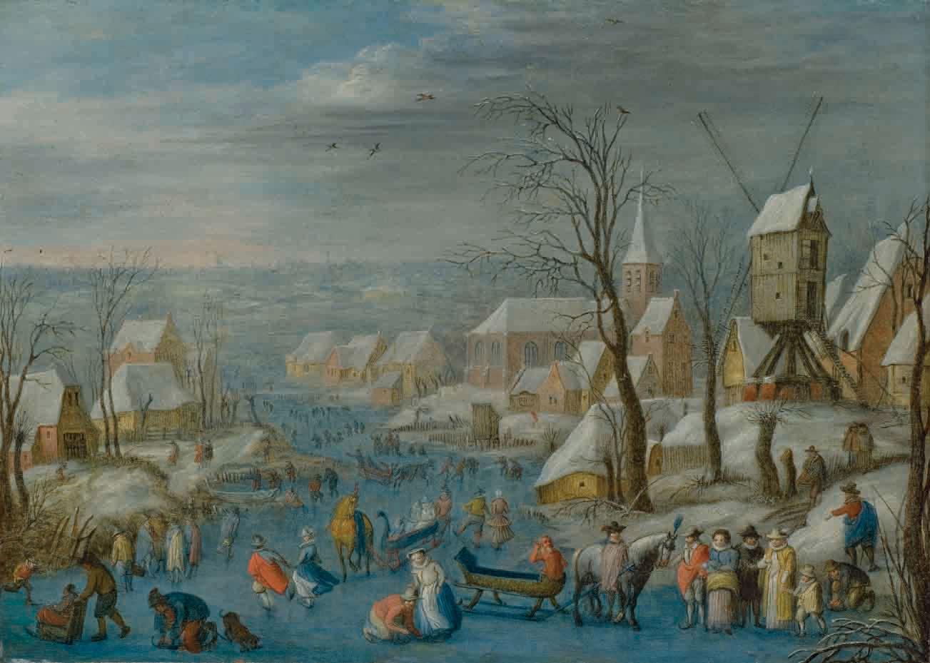 Patineurs sur une rivière glacée