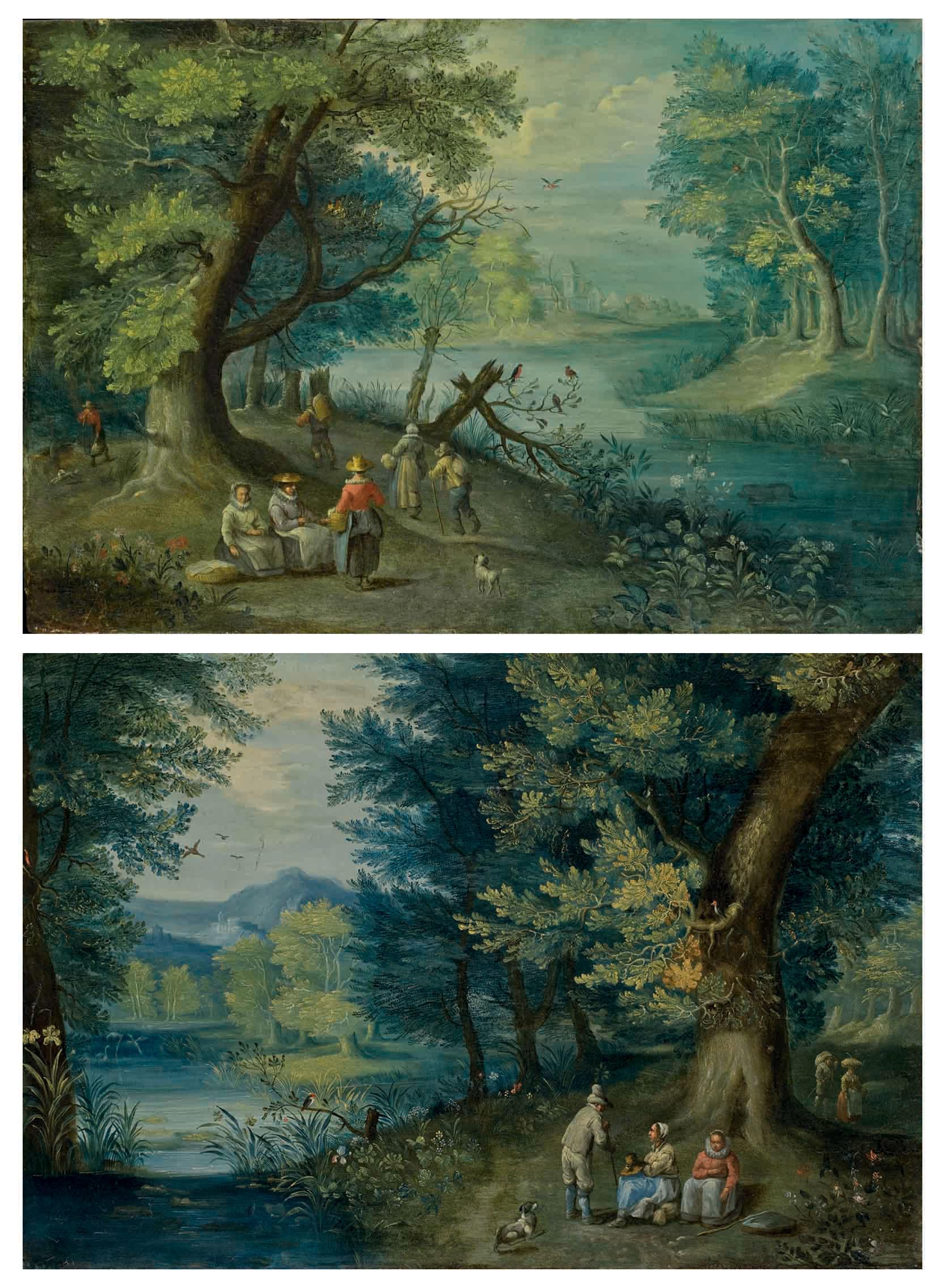 Personnages se promenant au bord d'une rivière; et Personnages discutant dans un paysage de rivière