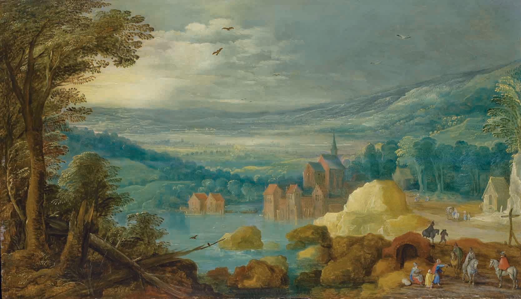 Village au bord d'un lac, des collines à l'arrière-plan