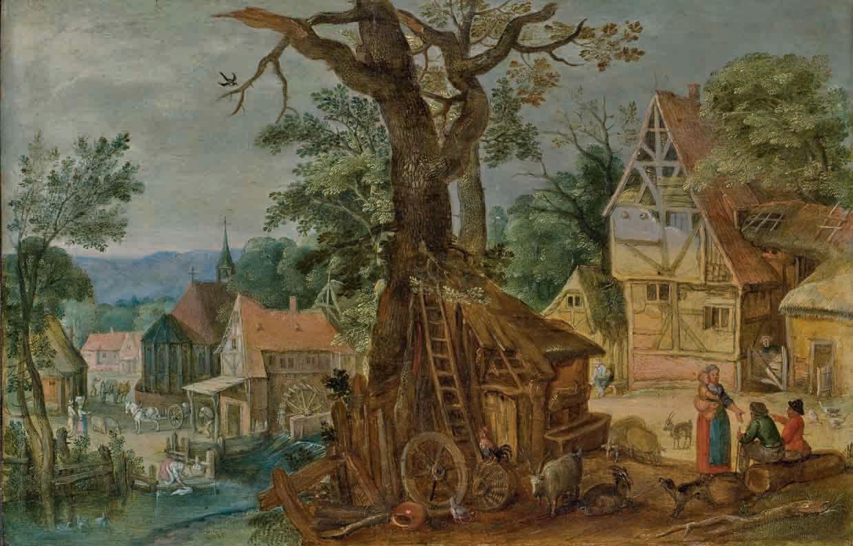 Un village avec des paysans discutant près d'une étable et un moulin à eau