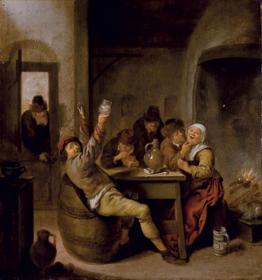 Paysans buvant et fumant dans un intérieur
