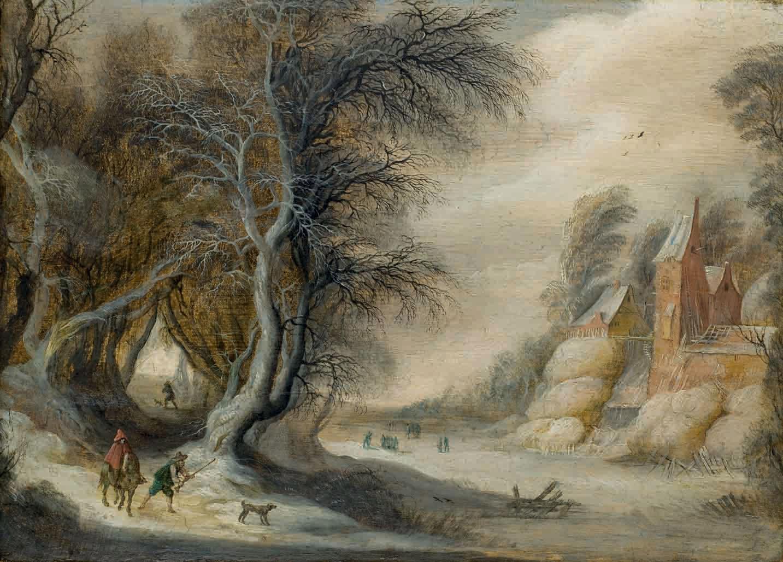 Chasseurs dans un paysage d'hiver