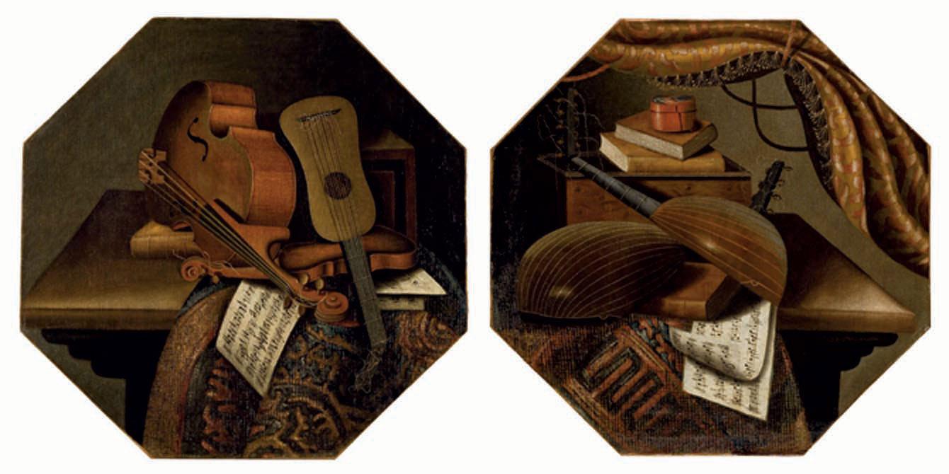 Violons et partitions sur une table recouverte d'un tapis; et Violes de Gambe, livres et partitions sur une table recouverte d'un tapis