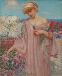 Elégante cueillant des fleurs