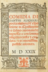 DANTE ALIGHIERI (1265-1321). [La Divine Comédie, en italien] Comedia. Venise: Iacopo del Burgfranco pour Luc. Giunta, 23 janvier 1529.